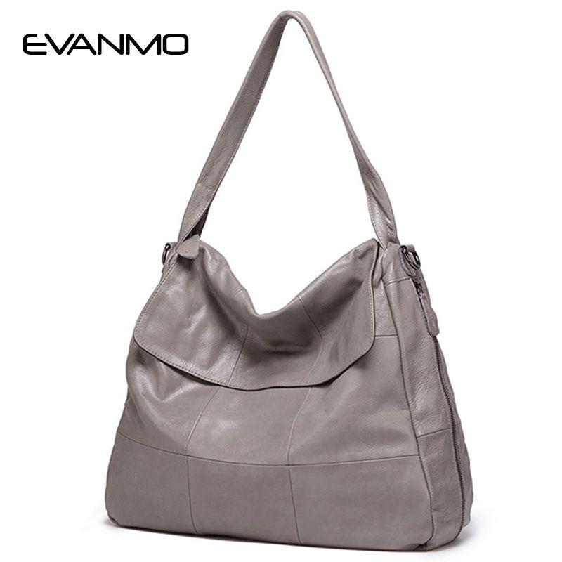 2018 Limited Pocket Soft Hot Genuine Leather Women Hobos Handbag Brand Plaid Design Simply Style Shopping Shoulder Bag Popular
