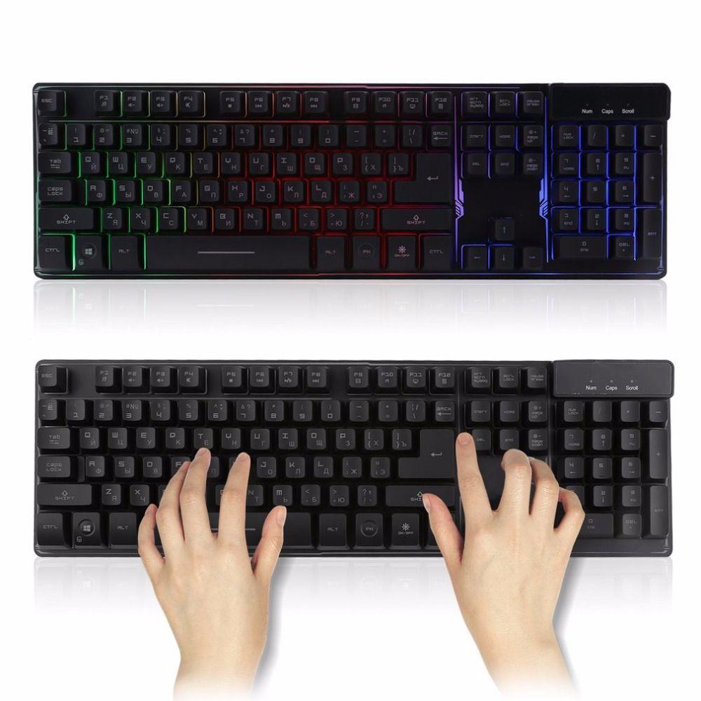 Wired Waterproof 104 Key Russian Version Gaming Keyboard Gamer Floating LED Backlit USB Interface Luminous Keyboard
