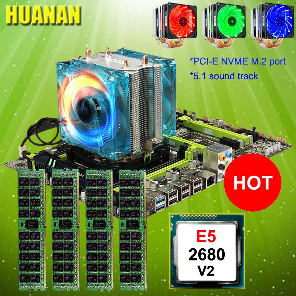 Computer DIY HUANAN ZHI X79 motherboard with M.2 slot discount mobo with CPU Xeon E5 2680 V2 cooler RAM 64G(4*16G) 1600 RECC