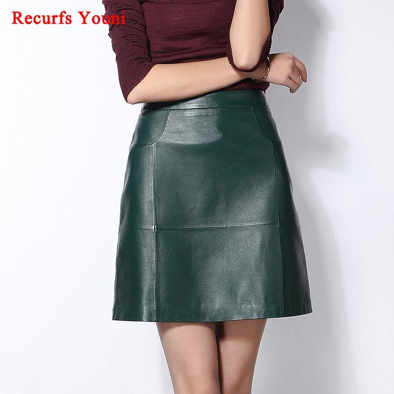RYS1702 Printemps Femmes de Nouveau 100% En Cuir Véritable Jupe Courte Dames A-ligne Midi Taille Conception Mince Hanche Buste Zipper Faldas Mujer