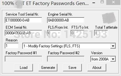 100% 2017 ET FACTORY PASSWORDS GENERATOR v0.2.9 for cat
