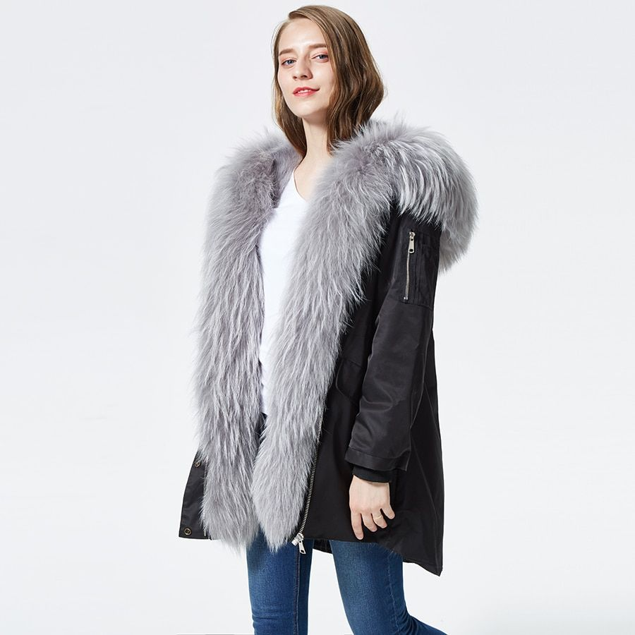 racoon fur parkas mujer real racoon fur lined women parkas with fur hoods Real Fur Jacket for women