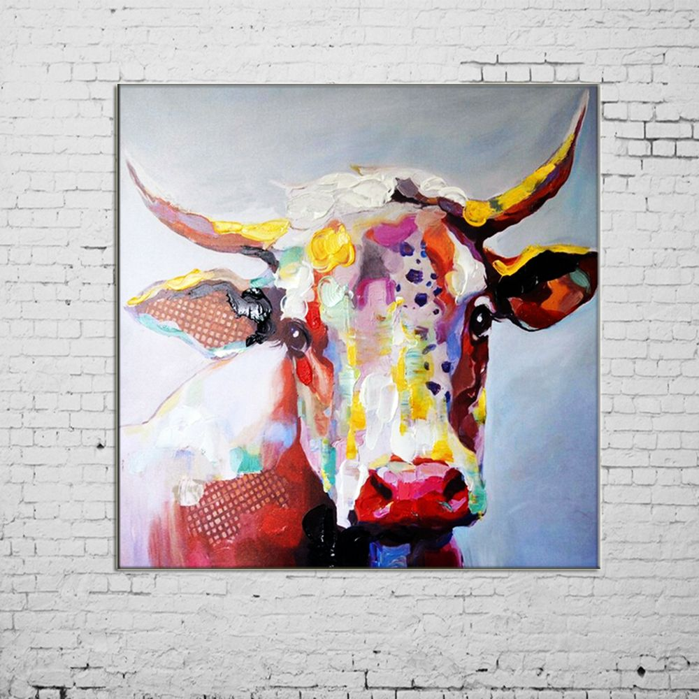 Big Size Paintings Handmade Wall Painting Color Cow Picture on Canvas Abstract Home Decor Animals Oil Painting Hang Pictures