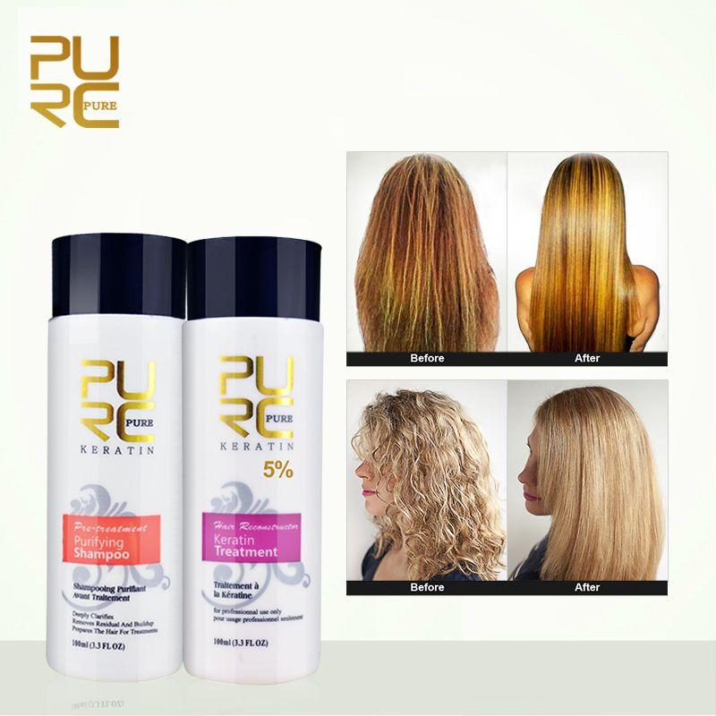 PURC Straightening hair Repair and straighten damage hair products Brazilian keratin treatment + purifying shampoo PURE 11.11