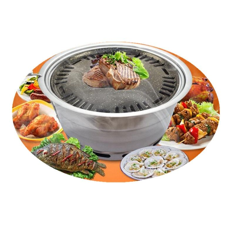 Korean Charcoal BBQ Grill Non-stick Built - in Carbon Oven Upper Exhaust Barbecue Grill Oven Roasting Brazier For Outdoor Party