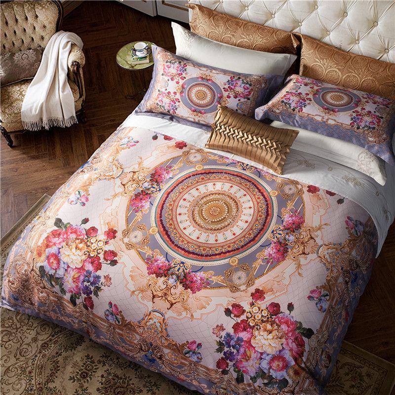 Luxus Böhmen König queen-size-bettwäsche-sets Orientalischen 4 stücke Ägyptischen baumwolle Bett gesetzt bettbezug bettlaken bettwäsche set Kissen abdeckung