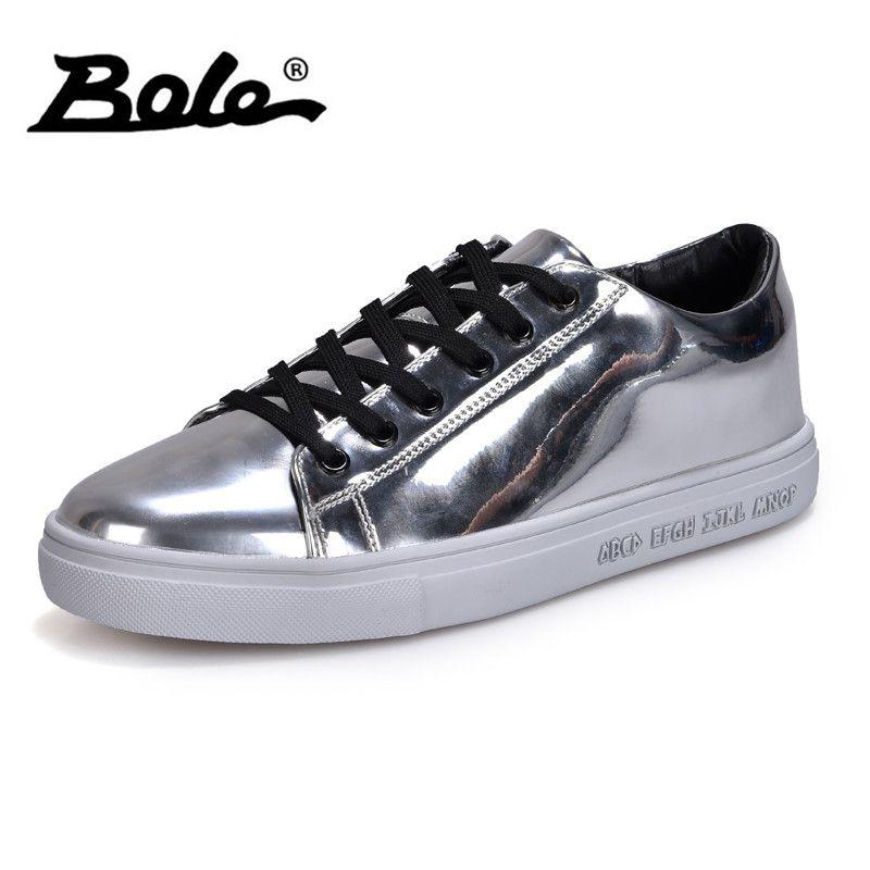 BOLE New Design Sequin Men Casual Shoes Rubber Sole Men Non-slip Lace Up Sneakers Waterproof Flat Shoes Gold Blue Sliver Black