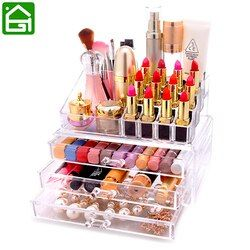 Acrílico organizador cosmético caja cosmética de almacenamiento cajón de escritorio baño cosmética Cepillos Pintalabios titular