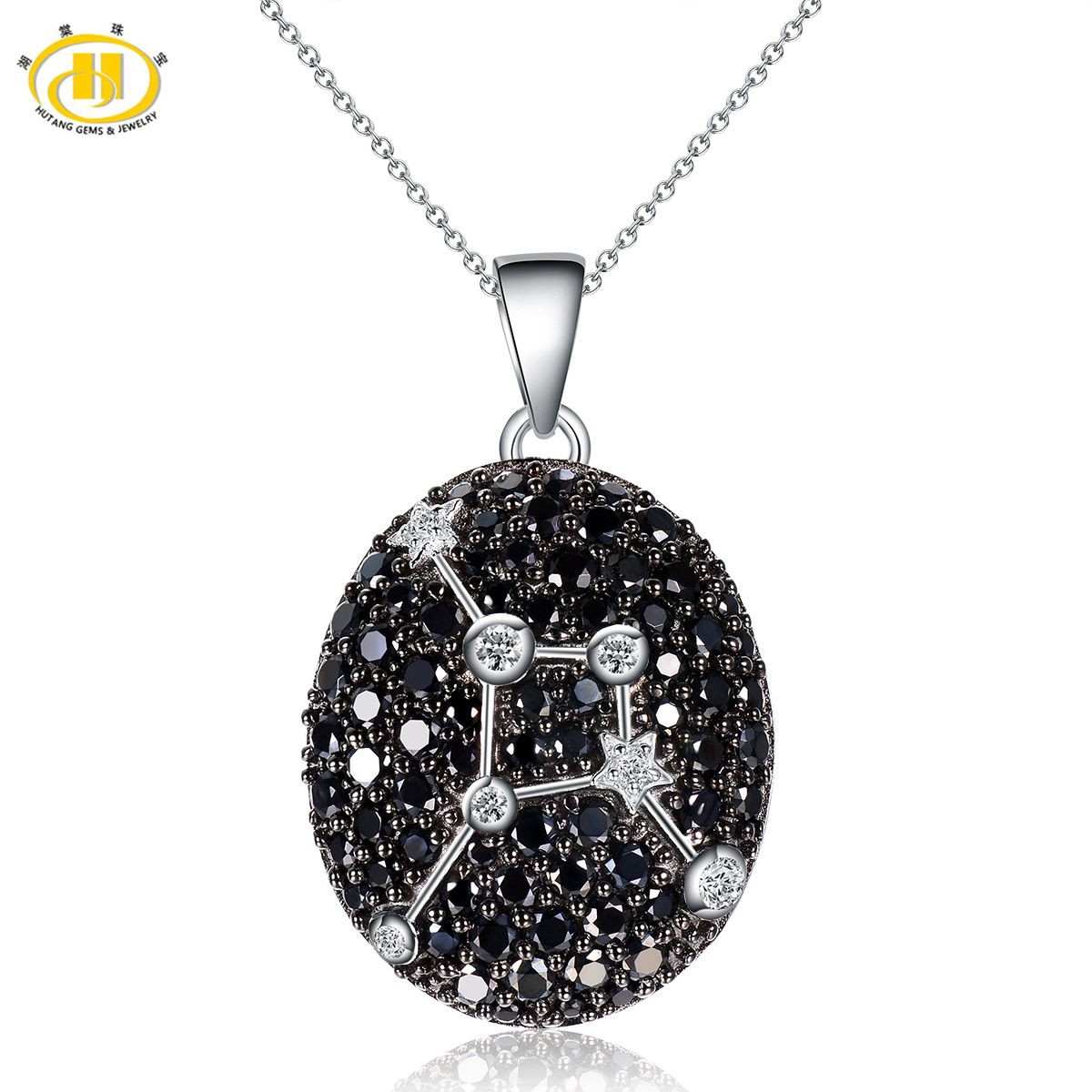 Hutang Cancer Constellation Black Spinel & White Topaz Pendant Solid 925 Sterling Silver Necklace Free Chain For Boy And Girl