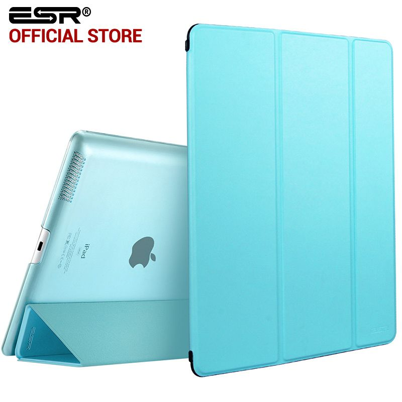 Case for iPad 2 3 4, ESR Yippee Color PU Transparent <font><b>Back</b></font> Ultra Slim Light Weight Trifold Smart stand Cover Case for iPad 2/3/4