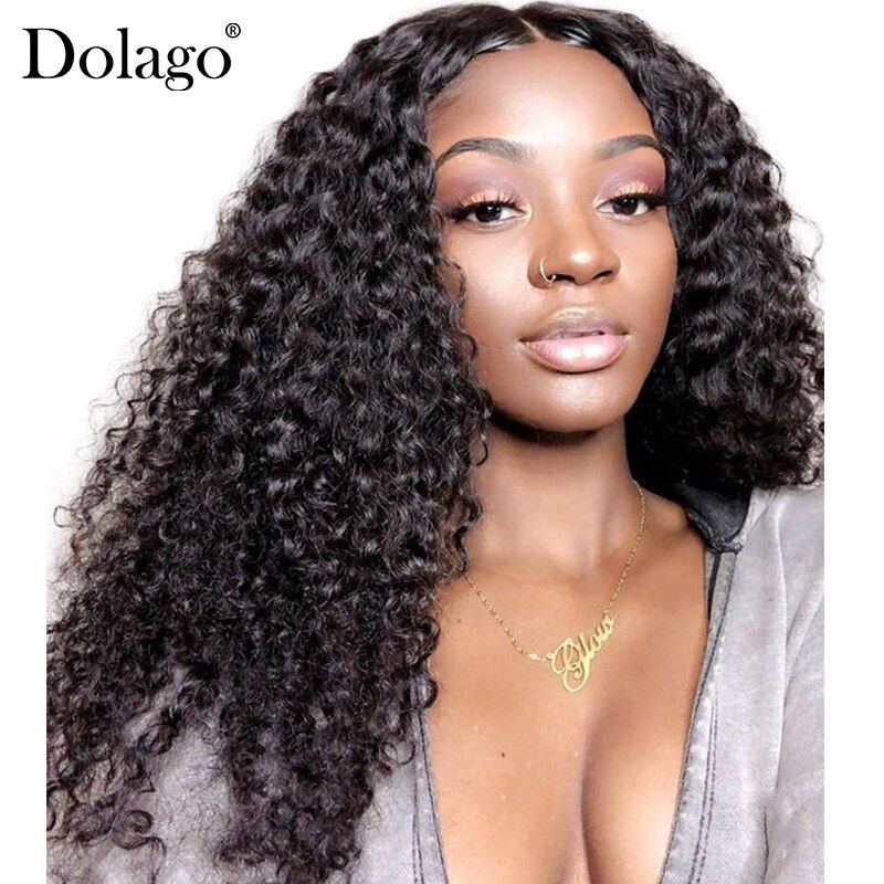 13x6 Lace Front Human Hair Wigs For Women 150% Density Deep Curly Brazilian Lace Frontal Wig Glueless Dolago Black Remy Full End