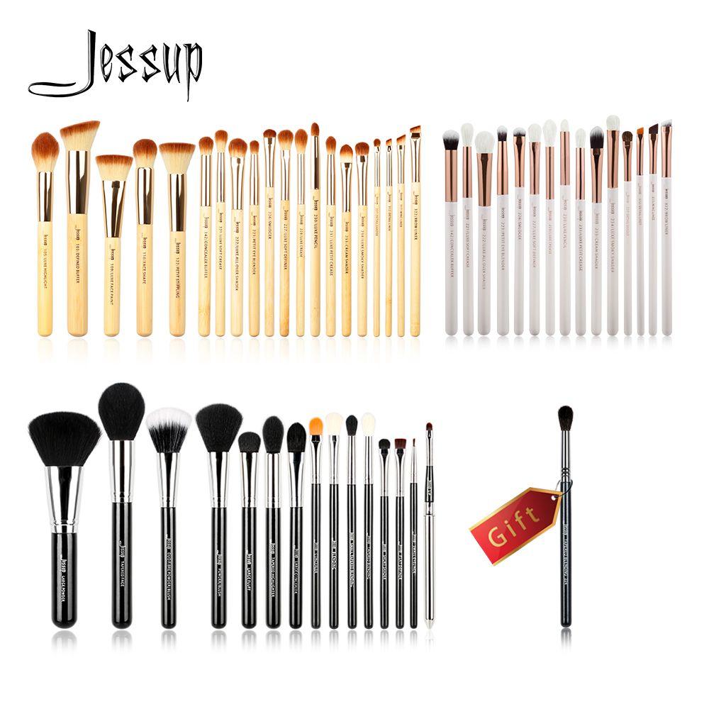 Jessup Kaufen 3 erhalten 1 geschenk Make-Up Pinsel set Beauty-tools Kosmetische Make-up pinsel Bambus Holz griff Eye Liner powder Foundation