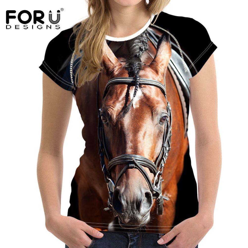 Forudesigns d'été t shirt femmes casual t-shirt drôle 3d cheval femmes crop tops marque chemises féminin crossfit tops ropa mujer