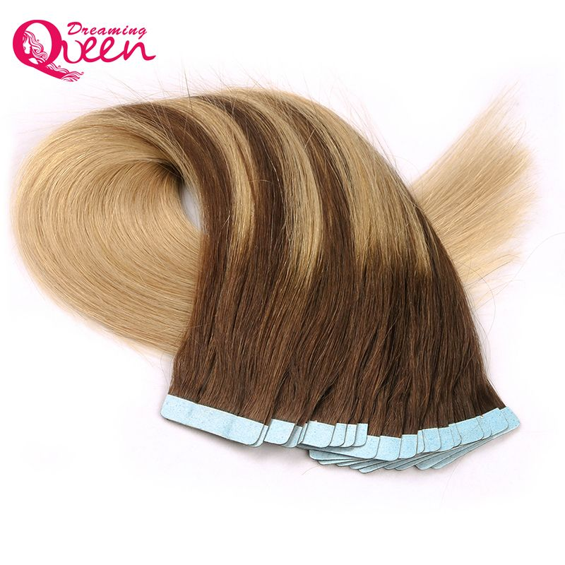 #4/18/Color Tape In Human Hair Extensions Brazilian Straight Hair Skin Weft Machine Made Remy 50g 20pcs/Set  Dreaming Queen Hair