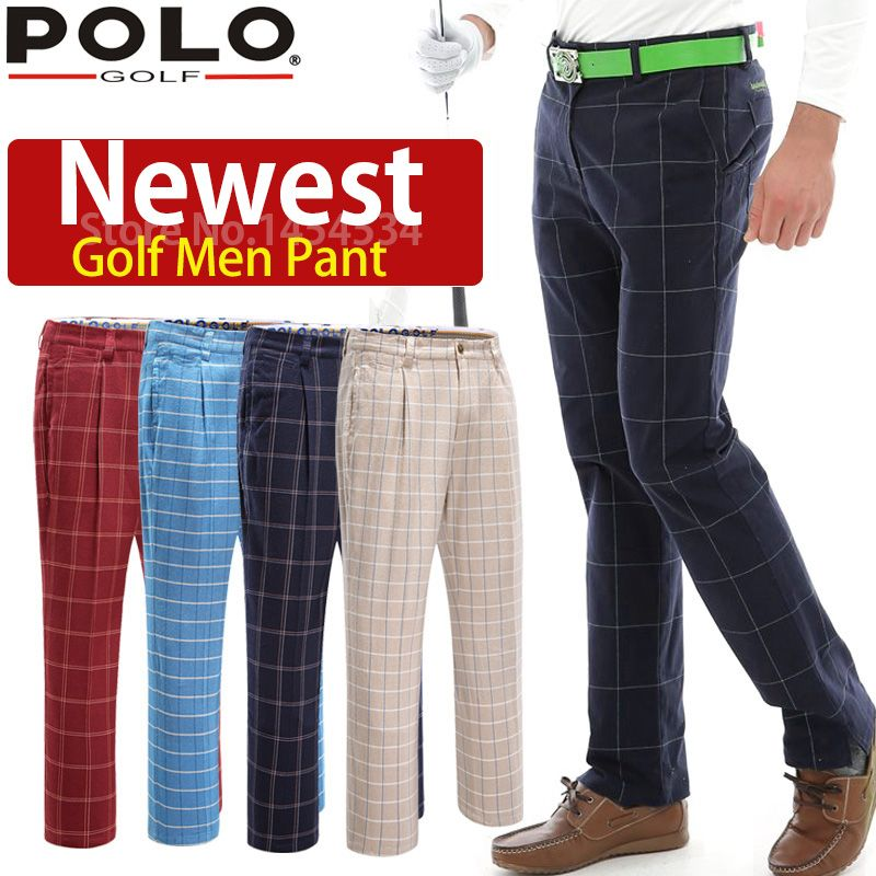 Brand POLO Plaid Men Pants 2018 High Quality Soft Golf Trousers for Fat Men Big Pantalon Cotton Breathble Quick Dry Golf Clothes