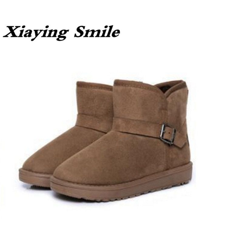 Xiaying Smile Winter Woman <font><b>Snow</b></font> Boots Ankle Boots Buckle Strap Solid Platform Slip On Women Flats Casual Flock Fur Women Shoes