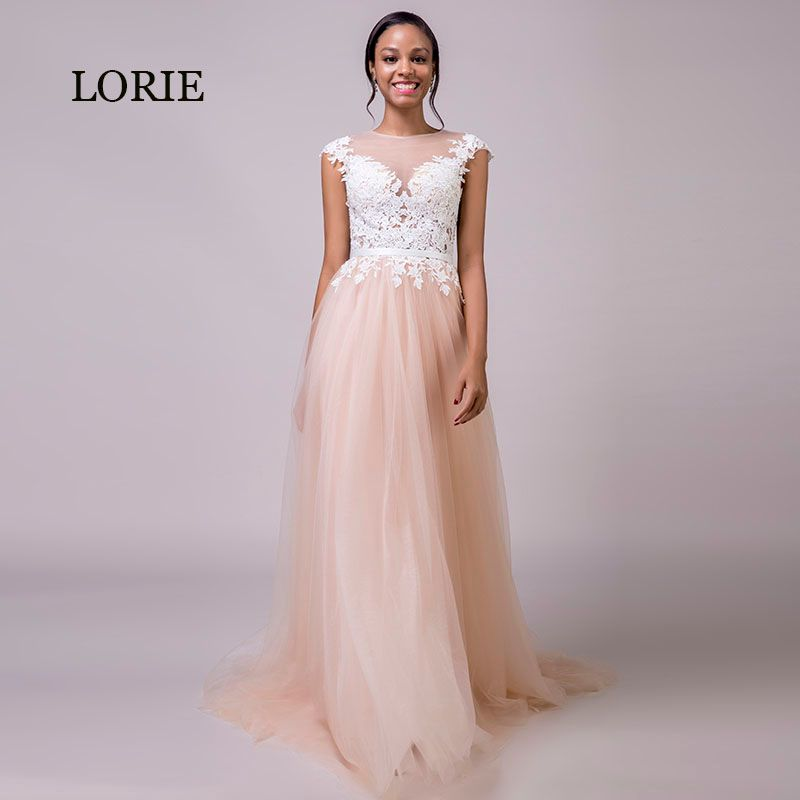 LORIE Coral Wedding Dress 2018 Appliques Lace Beach Wedding Gown Long Custom Made Tulle Zipper Pink Bride Dress Free Shipping