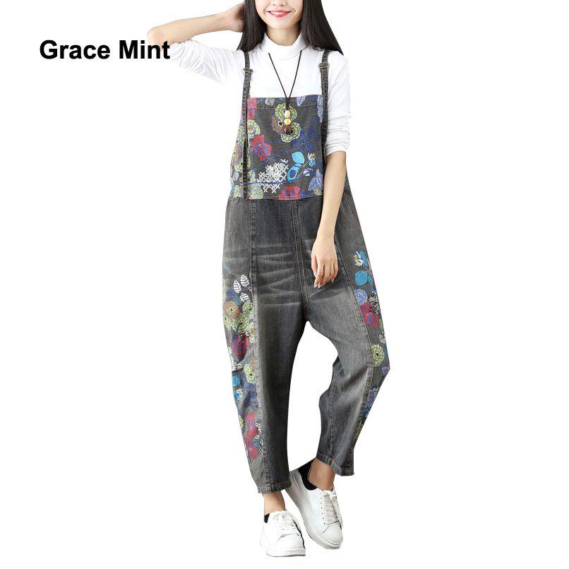 2018 Для женщин широкие брюки Джинсы для женщин полной длины свободные Джинсовые комбинезоны промывают печати рваные Комбинезоны для девоче...