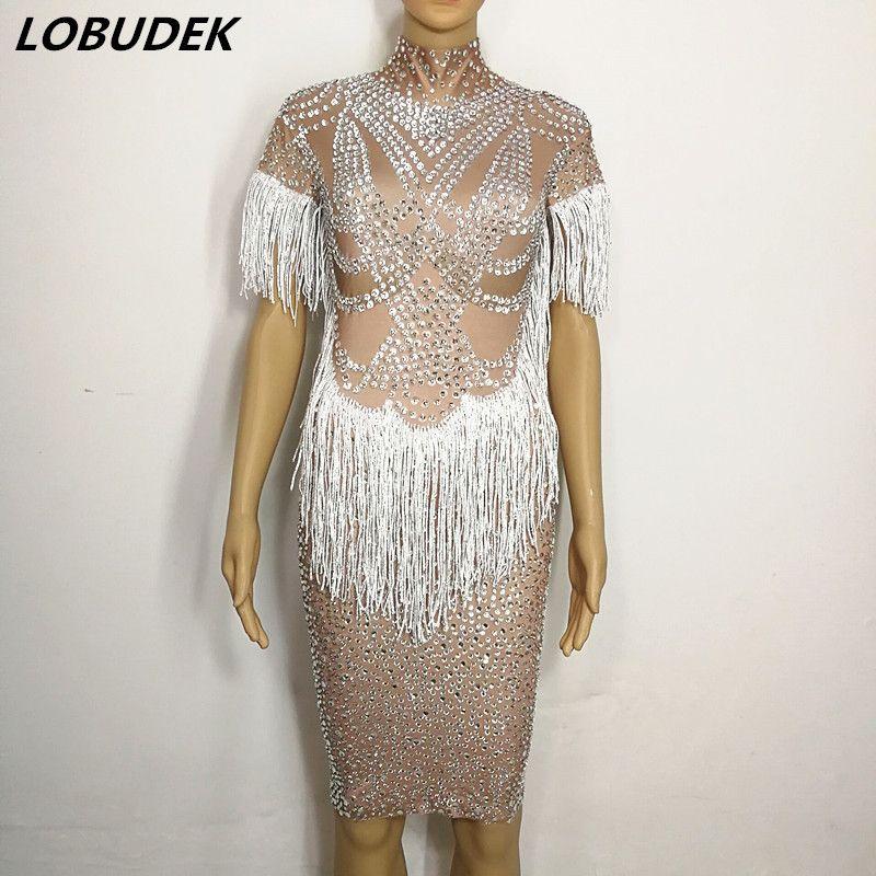 Sparkly Glass Rhinestones white tassels dress Female Adult Costume Bar Nightclub DJ singer Leading dancer singe star stage Dress