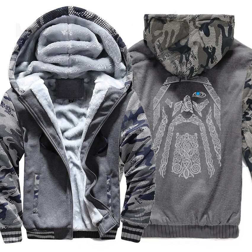 winter sweatshirt raglan print jacket tracksuit Odin Vikings hoodies for men 2018 new fashion wool liner Camouflage sleeve coats