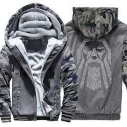 winter sweatshirt raglan print jacket tracksuit Odin Vikings hoodies for men 2018 new fashion wool liner Camouflage sleeve coats
