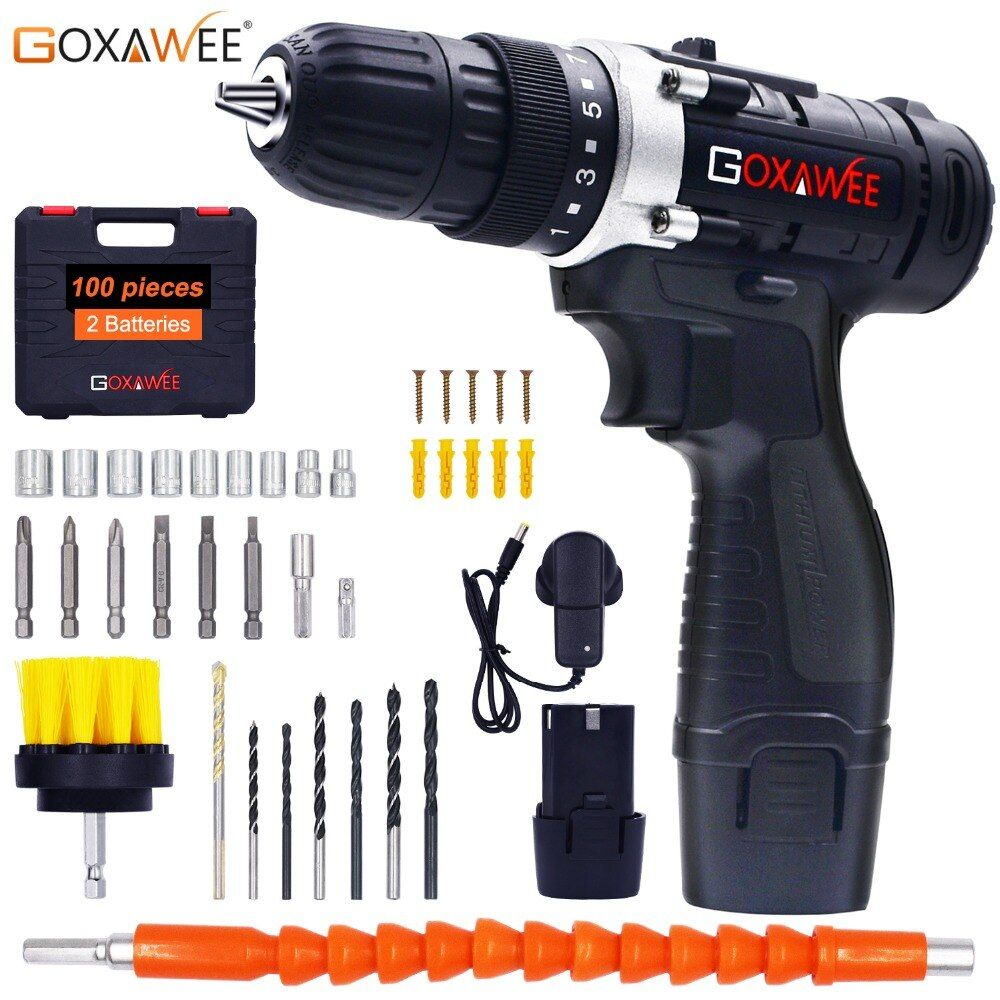GOXAWEE 12V Two Speed Electric Screwdriver Cordless Drill Mini Wireless Power Driver DC Lithium-Ion Battery With Carry Case