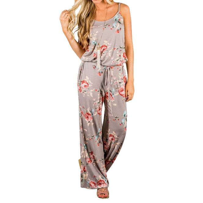2018 Kawaii Floral Women Jumpsuit Fashion Spaghetti Strap Long Playsuits Casual Beach Wide Leg Pants Jumpsuits Overalls GV736