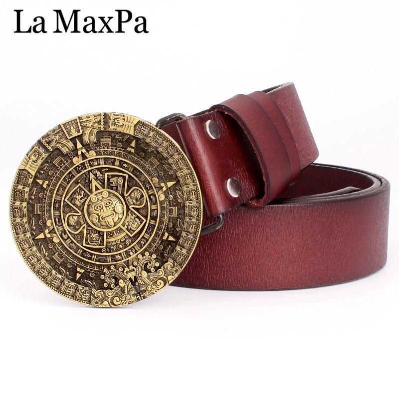 Mode homme ceinture boucle ronde aztèque soleil calendrier motif peau de vache cuir maya aztèque personnalité cadeau ceinture pour hommes