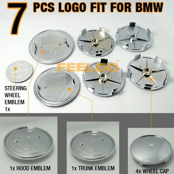 7Pcs/set  Black/Silver Carbon Fiber Emblem logo badges SET For BMW #FD1564