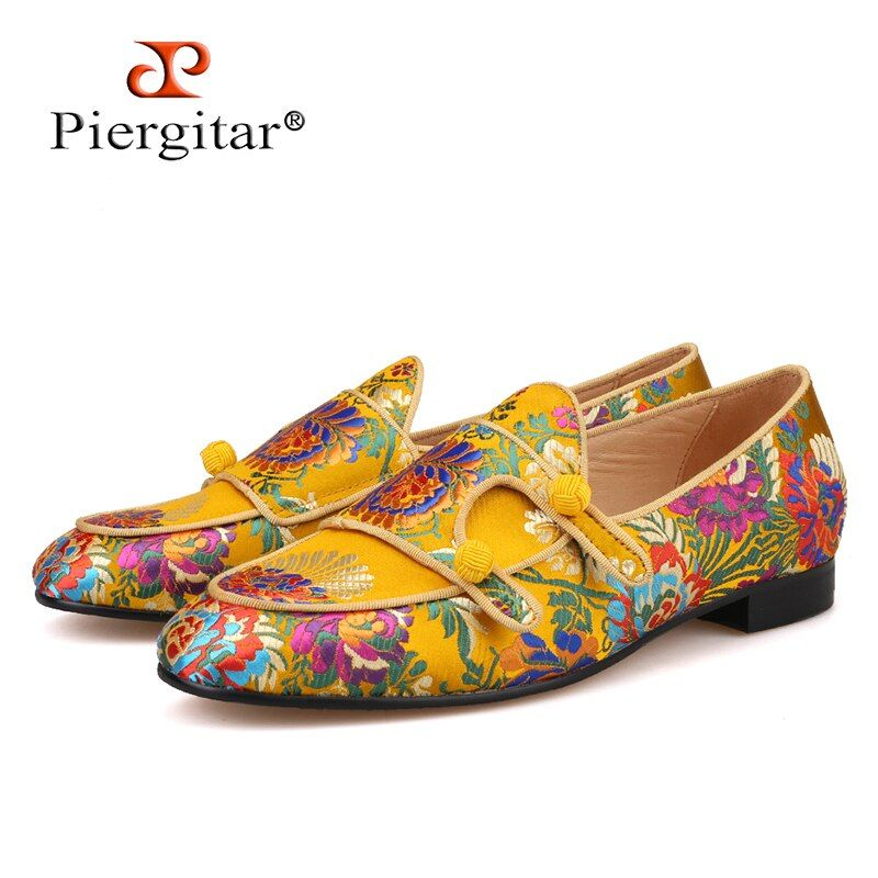 Pierigtar new arrival Italian brand superglamourous same designs luxury flower silk shoes Handmade men loafers men wedding shoes