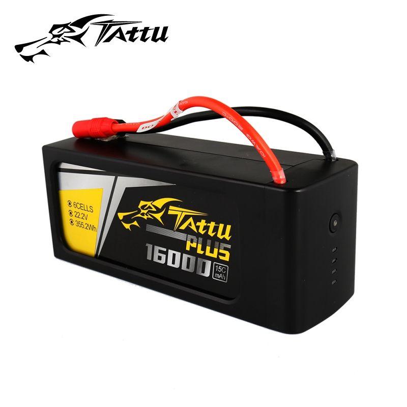 TATTU 16000mAh Lipo Batteries 4S 6S 15C Max 30C 14.8V 22.2V 22.8V Batteria Pack for Quadapter UAV Drone Long Size Tattu Plus