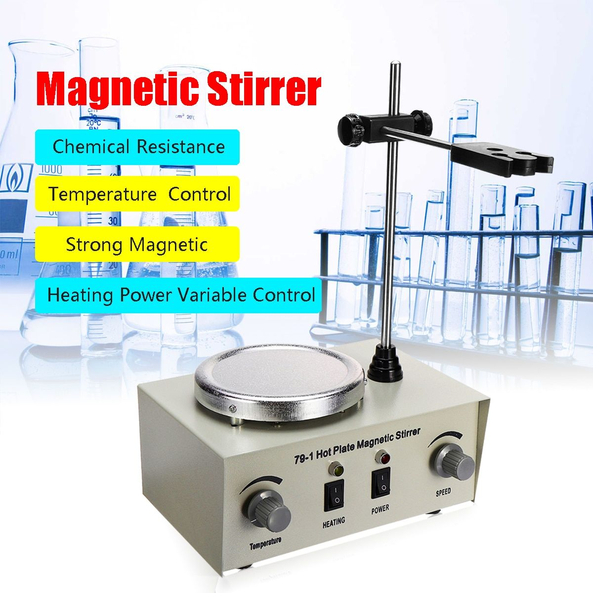 79-1 110/220V 250W 1000ml Hot Plate Magnetic Stirrer Lab Heating Dual Control Mixer US/AU/EU No Noise/Vibration Fuses Protection