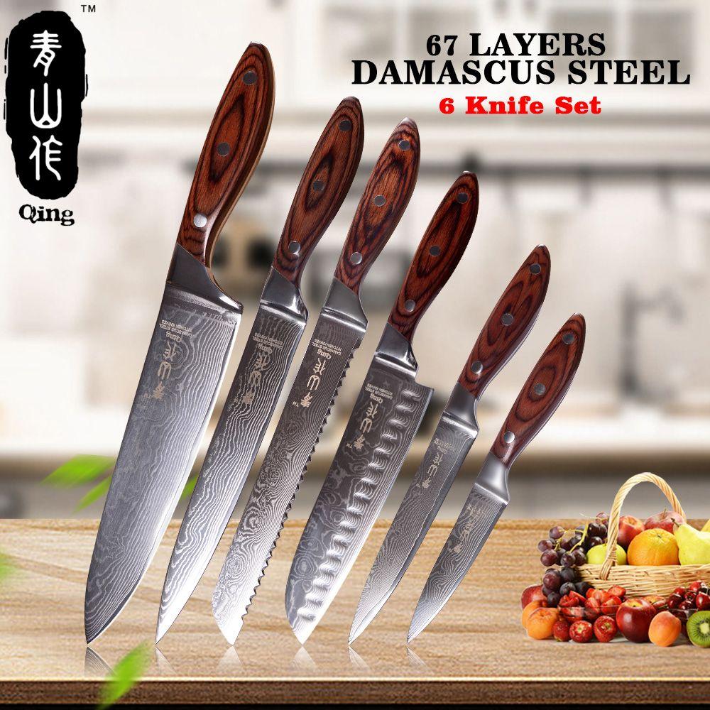 QING 6-Stück Küche Messer Set 3,5 5 7 8 8 8 Farbe holz Griff Japanischen Damaskus Messer 67-Schicht VG10 Stahl Kochen Werkzeuge