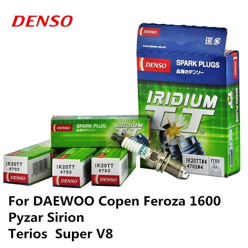 4pieces/set DENSO Car Spark Plug For DAEWOO Copen Feroza 1600 Pyzar Sirion Terios  Super V8 Iridium Platinum IK20TT