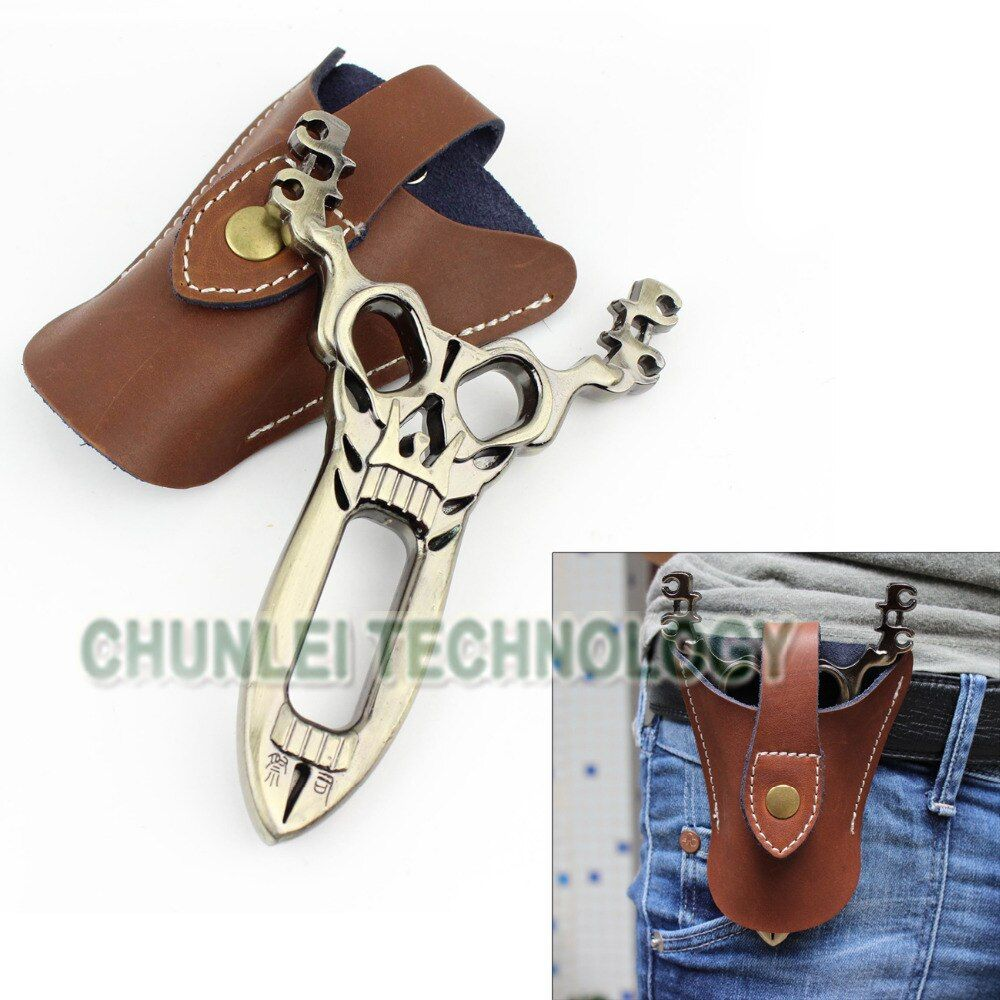 6 in 1 Bronze Powerful Skull Catapult Sling Shot Slingshot Hunting+Genuine Leather Pouch Bag+Two Strip Rubber Band