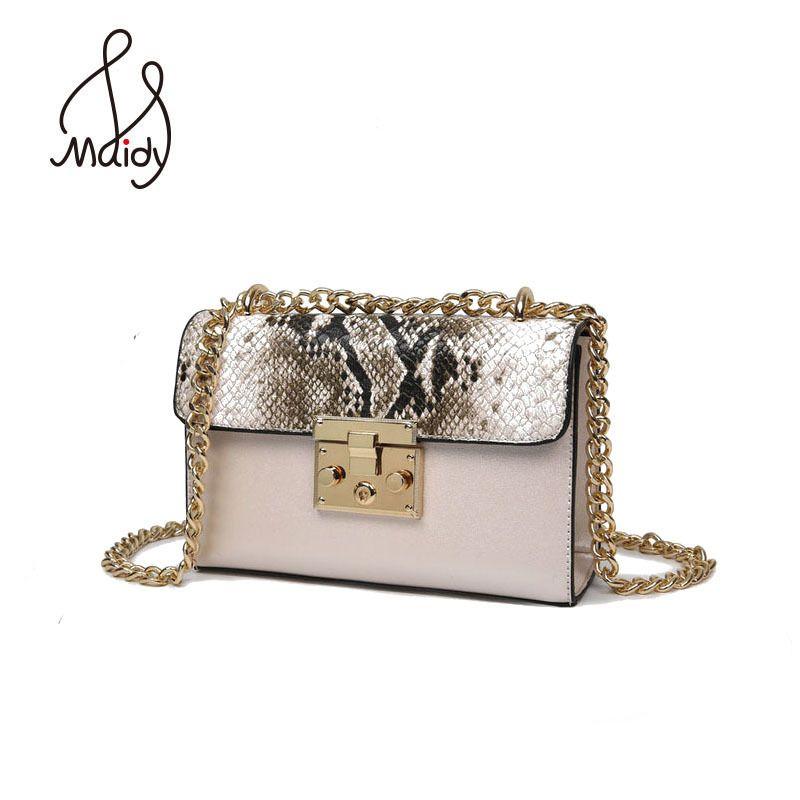 Дизайнер Сумки высокое качество сумка женская Для женщин из змеиной кожи металлик zip-lock Малый Цепи Сумки клапаном Сумки