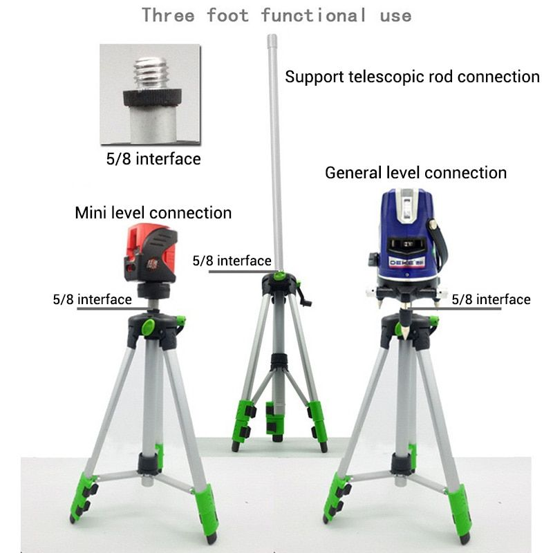 120cm 150cm Laser Level Tripod with Universal Joint 5/8 Adapter Swivel Head Slash Function Extension Rod for Adjustable Bracket