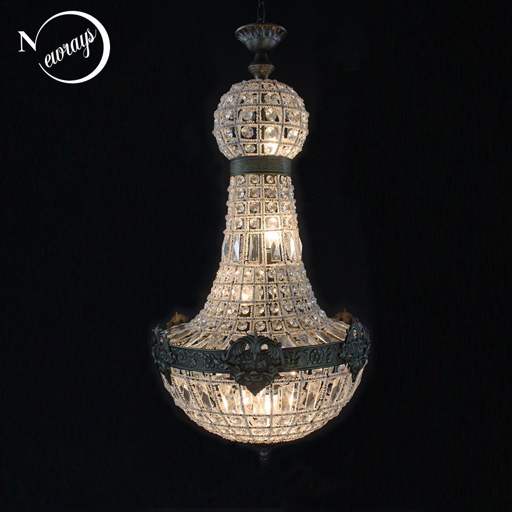 Europe rétro Vintage charmant Style Empire Royal grand Led cristal moderne lustre lampe Lustres lumières E14 pour hôtel salon
