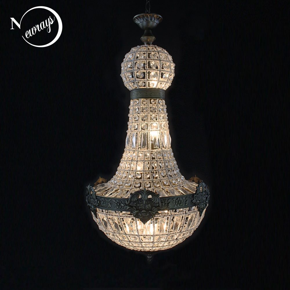 Retro Vintage Charming Royal Empire Style Big Led Crystal Modern Chandelier Lamp Lustres Lights E14 For Hotel Church Living Room