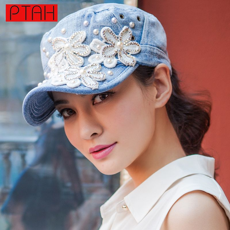 PTAH 2017 Women Floral Embroidery Baseball Caps Denim Diamond Point Hip Hop Hat Brand Lady SummerFashion Adjustable Casquette
