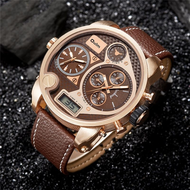 Oulm Super Big Style Dual Display Quartz Watch Male Large Dial Casual PU Leather Watches Men Luxury Brand Sport Wristwatch New