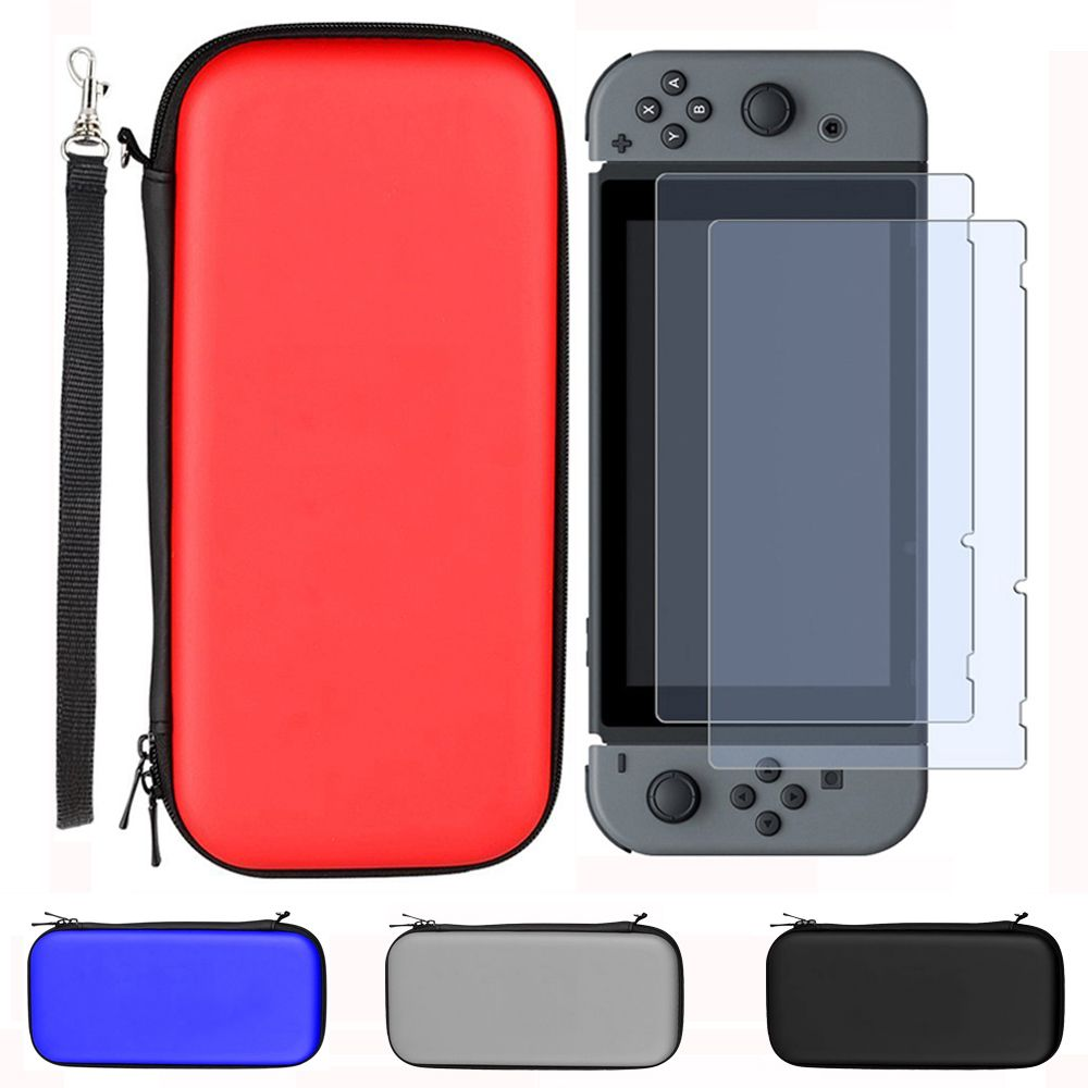 Hard Carrying Storage Bag for Nintend Switch Travel Carry Case with 2PCS HD Tempered Glass Screen Protector for Nintendo Switch