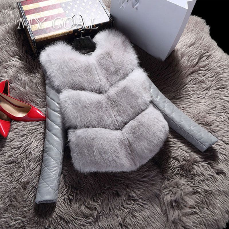 Women Jackets Vest Fashion Autumn Winter Coat Warm Female Faux Fox Fur Vest High-Grade Slim Jacket Outerwear Black Gray