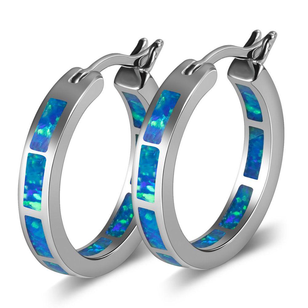 Opale de feu bleue 925 boucles d'oreilles en argent Sterling P297