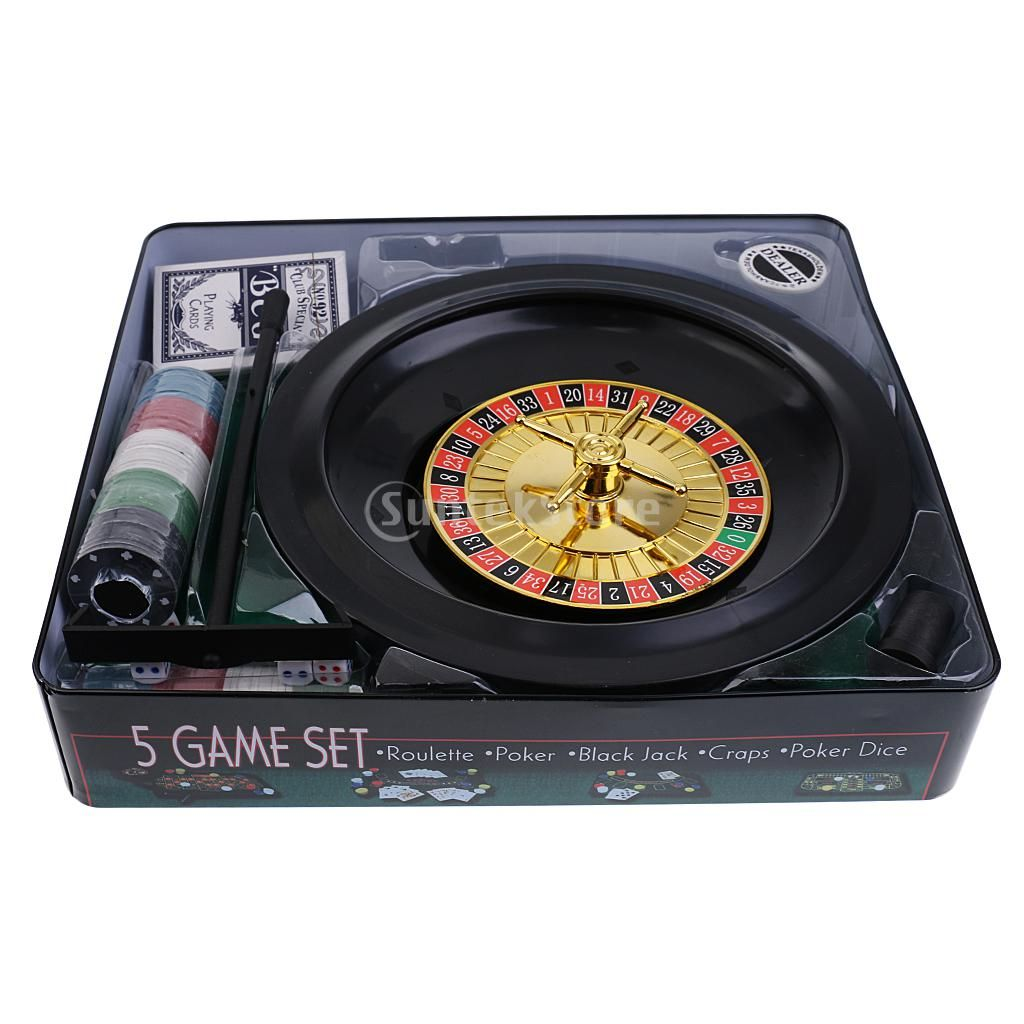 Simulation Casino Game Set 5 in 1 Metal Case Gift Toys for Party Gathering 100 Pieces Poker Chips Roulette Balls Felt Mat Dice