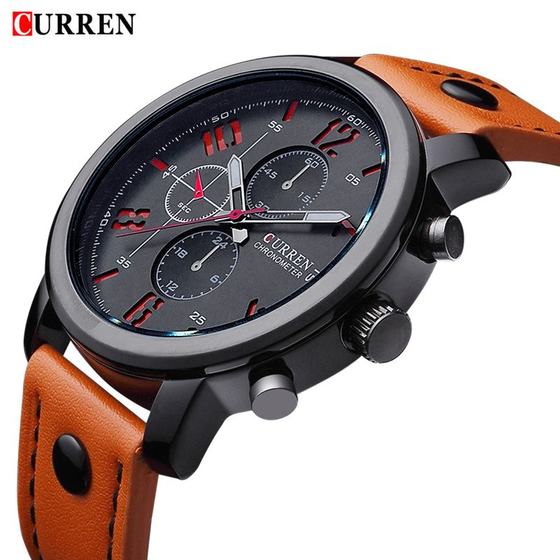Military CURREN Brand Men Sports Watches Wristwatches <font><b>meskie</b></font> Quartz-watch Climbing Wrist Watch Leather Strap Clock Male Watches