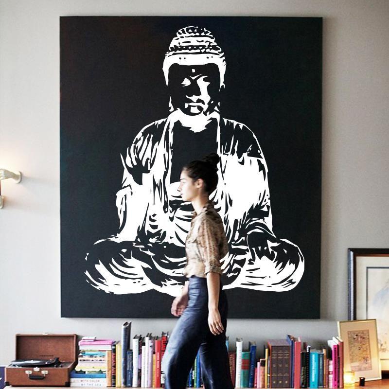 Art nouveau Design indien bouddha religion Sticker Mural amovible vinyle autocollant décoration murale chambre décoration dieu asiatique yoga namaste
