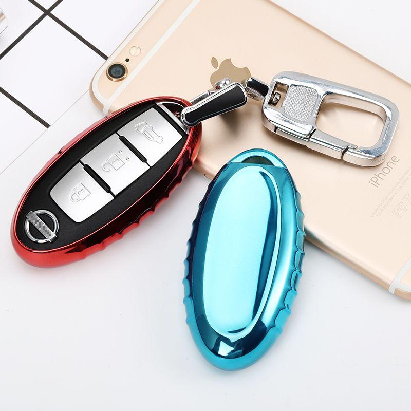 Car Styling Soft TPU Car Key Cover Case Fit for Car Nissan key 3/4/5 button Tiida Sunny/Teana/X-Trail/Livina/Sylphy Car key ring