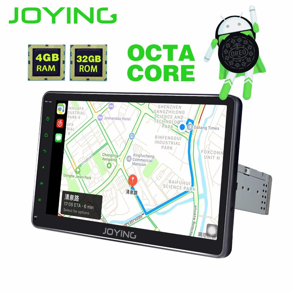 JOYING 1DIN Android 8.0 Autoradio 10.1 Inch HD IPS screen 4 GB RAM Octa Core Stereo HU 1024*600 GPS Bluetooth Radio with Carplay