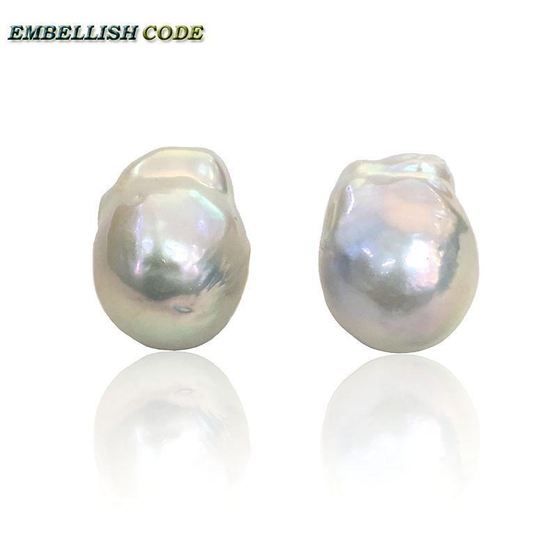 Boucles d'oreilles avec perle baroque, tissu brillant blanc, style nucléé, forme boule de feu, perles d'eau douce naturelles, 925, argent spécial